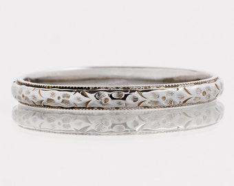 Antique Wedding Band - Antique 18k White Gold Etched Wedding Band