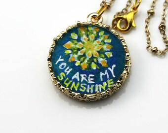 You Are My Sunshine Necklace, Pendant on Chain, Original Miniature Art, Wearable Art,  Gouache on Paper