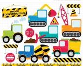 ON SALE - Transportation / Construction / Primary Colors Clip Art / Digital Clipart - Instant Download
