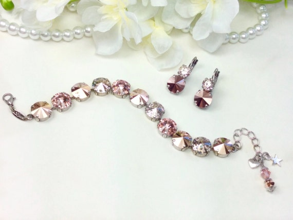 Swarovski Crystal 12MM Bracelet and Earrings - Designer Inspired - Rose Gold, Rose Gold Patina, & Vintage Rose - SO Classy  - FREE SHIPPING