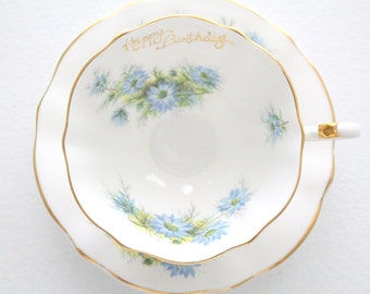 Vintage English Bone China, Wide Mouth, Happy Birthday Tea Cup and Saucer by Queen Anne, Tea Party, Replacement China - ca. - 1959 - 1966
