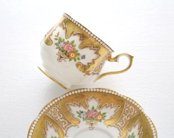 Vintage, English Bone China Tea Cup and Saucer by Royal Albert, Hampton Shape, Royalty Pattern, Replacement China - ca. 1930s