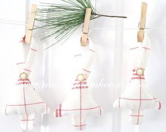 Vintage Textile, Handmade Stuffed Christmas Tree Ornament, Red Striped Grainsack Linen, Secret Santa, Stocking Stuffer Gift Inspiration
