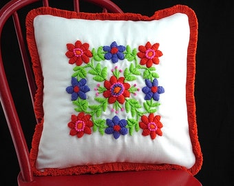 Vintage Floral Crewel Embroidery Pillow Assembled from Stitched Kit