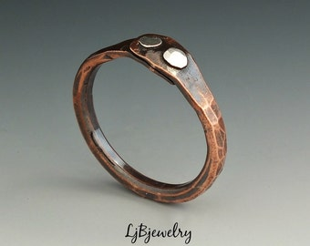 Copper Thumb Ring, Copper Ring, Mixed Metal Ring, Sterling Silver, Copper, Handmade, Metalsmith Jewelry, Organic Style