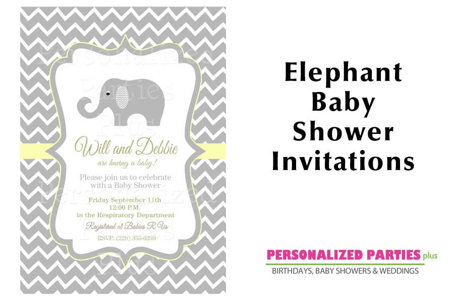 elephant baby shower invitations chevron baby by partiesplus