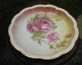 Beautiful Vintage Hand Painted Rose Plate Marked Empire China 4289