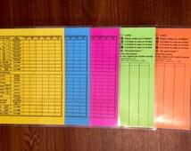 Reusable Scorecards for Yard Dice - Yahtzee & Farkle Styles