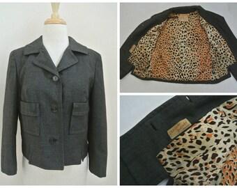 vtg 60s ADOLPHE ZELINKA gray wool cropped jacket blazer