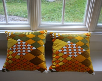 Harlequin Diamond Velvet Pillows - Modern, Retro, Psychodelic, Sixties