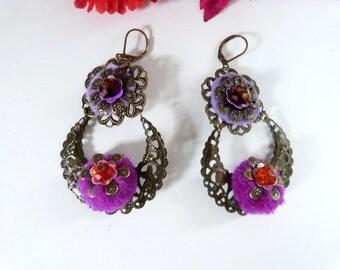 Bohemian and gypsy earring,purple,orange,pompom,glass beads