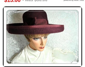 Wide Brimmed Hat -  Purple Vintage Hat - Wool Felt   -   H-15e -040313000