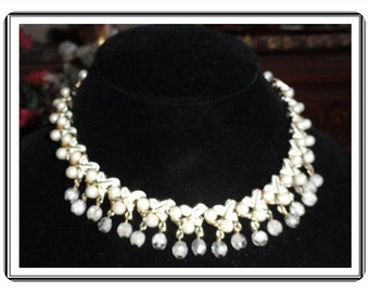 Signed Coro Necklace -Vintage White Enamel Leaf Links with Pearls - Dangling Beads   - Neck- 1791a-051613000