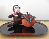 Monkey And Persimmon Ornament, Japanese Kimono Fabric