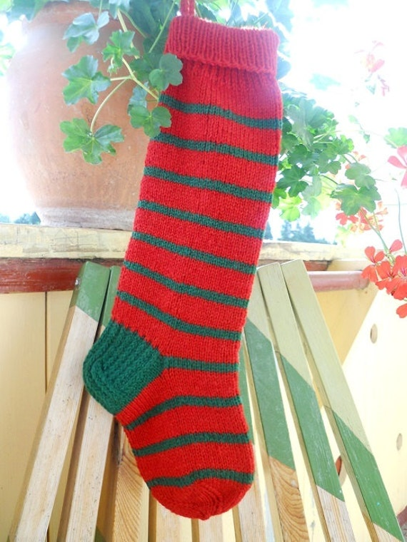 Knit Pattern For Striped Christmas Stocking : Christmas Stocking Hand knit Wool Striped by KnittingsWithSense