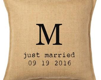 Rustic Burlap Monogram Wedding Keepsake Pillow