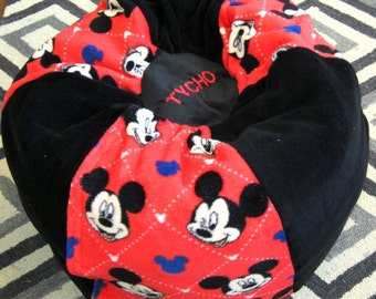 Mickey Mouse Bean Bag Chair - ADD Red Name-Floor Cushion-Kids Pouf-Toy & Extra Bedding Storage