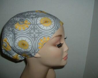 Kaleidoscope Flowers Gray Yellow Combo Euro European OR Scrub Hat