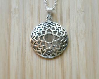 Flower of life necklace, sterling silver pendant, seed of life, sacred geometry, mandala, yoga charm, symbolic jewelry - flor de la vida