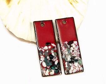 Enameled Copper Shimmer Sticks-30mm-Victorian Red-Seamist -Bohemian Beads-Boho