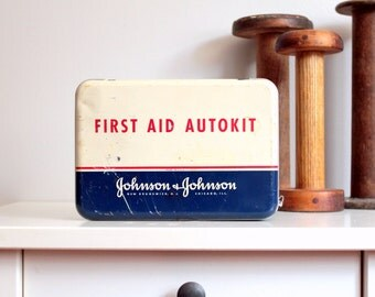 Vintage First Aid Kit with Contents - Johnson & Johnson First Aid Autokit Fully Stocked with Vintage Medical Supplies Bandages Tourniquet