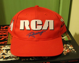 Vintage Vtg Winston Cup Team RCA Racing Cale Yarborough Hat Baseball Cap Red