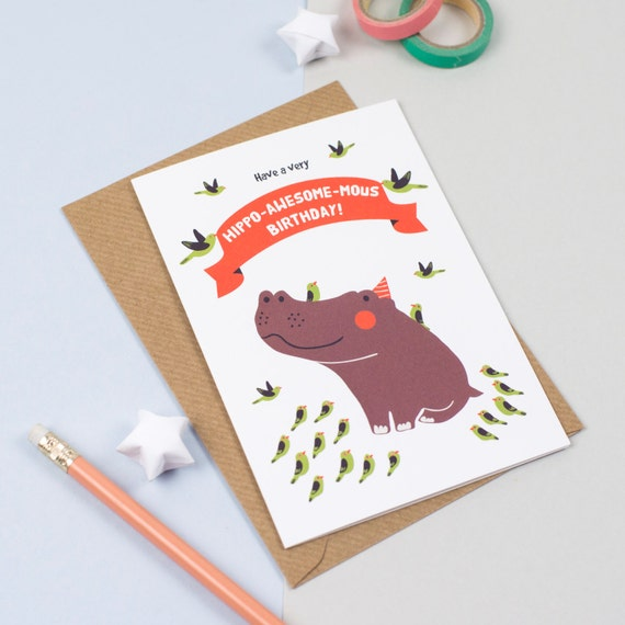 Hippo Birthday Greeting Card
