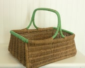 Vintage Woven Wood Picnic Basket, Wicker with Green Plastic Wrapped Edging and Handle - Vintage Travel Trailer Decor