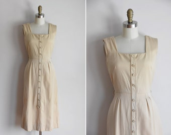 50s Fifth Avenue dress/  vintage 1950s wiggle dress/ cream wool fitted dress