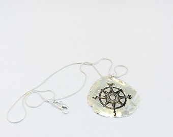 Compass Necklace, Nautical Jewelry, Sterling Silver Compass Gift, Traveler Gift, Bohemian Necklace, Wanderlust Necklace