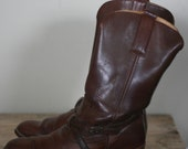 vintage dexter brown leather harness boots mens size 11M