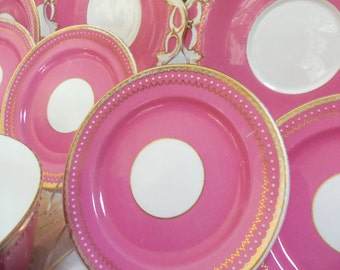 30 Pc Antique English Dessert Set/Copelands China Style/Circa 1800s/Wide Pink Band/White Beaded Trim/Wedding Gift/Tea or Dinner Party