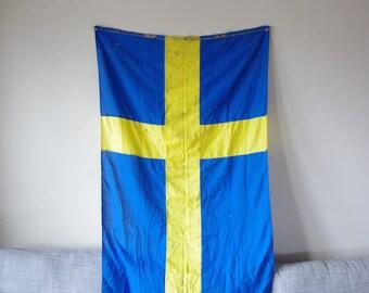 Linen Nautical Flag of Sweden - Swedish Flag - Vintage Nautical Flag