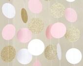 Pink , White and Gold Circle Dot Garland 5 feet