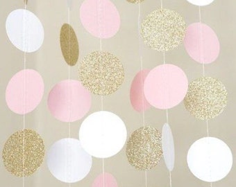 Pink , White and Gold Circle Dot Garland 5 feet