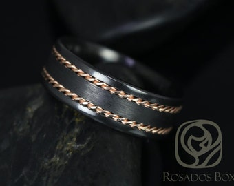 Kamil 8mm 14kt Rose Gold & Black Zirconium Straight Pipe Double Braided Band