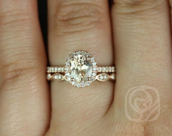 Federella 1.51cts & Christie 14kt Rose Gold Oval Melon Sorbet Champagne Sapphire and Diamonds Wedding Set