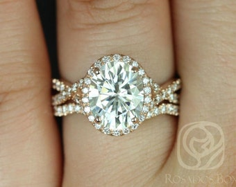 Rosados Box Thelma 10x8mm 14kt Rose Gold Oval F1- Moissanite and Diamond Twisted Halo Wedding Set