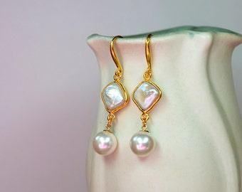 Swarovski pearl drop earrings Cultured coin pearl earrings gold Pearl dangle earrings White pearl bezel earrings June birthstone jewelry