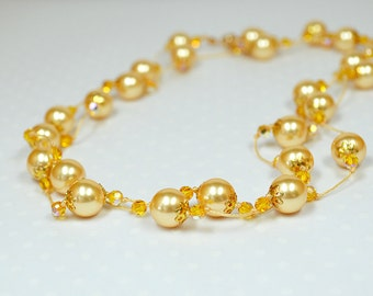 Yellow pearl necklace Hand knotted pearl jewelry Swarovksi pearl and crystal Long knotted necklace or layered wrap bracelet