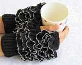 Frilly fingerless gloves cozy hand knitted mittens hand knit elegant ruffled black gloves frilly gloves autumn winter 2015 fashion