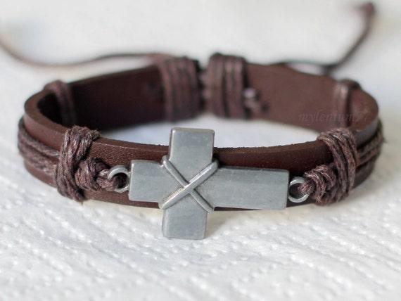 186 Men S Brown Leather Bracelet Cross Bracelet By Mylenium77