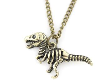 Cute Antique Gold tone Little Dinosaur Pendant Short Chain Necklace,B2
