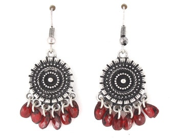 Vintage Feel Silver-tone Round Plate Red Beads Dangle EARRINGS,B16