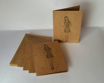 """Set of 6 """"Lady Like"""" Note Cards"""