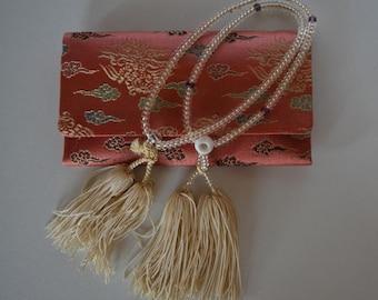 Buddhist mala prayer beads and brocade pouch, vintage Japanese juzu