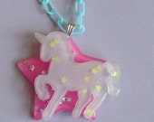 Fairy Fantasy - Pastel Lavender Unicorn and Neon Pink Holographic Glitter Star Necklace