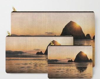 Cannon Beach Zippered Pouch   Makeup Bag   Beach Sunset   Travel Case Set   Oregon Coast   Haystack Rock iPad Case   Bridesmaid Gift