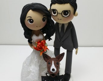 Wedding cake topper I DO clay doll, customize bride in lace strapless wedding gown clay figurine, cute puppy with I Do banner clay miniature
