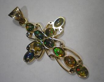 Huge 14 kt Gold Mexican Opal Cross Pendant 11.5 Grams